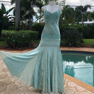 Lillie Rubin Blue 100% Silk Gown 4